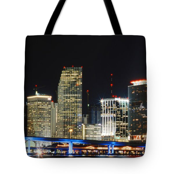 Bay Front Miami Skyline Tote Bag