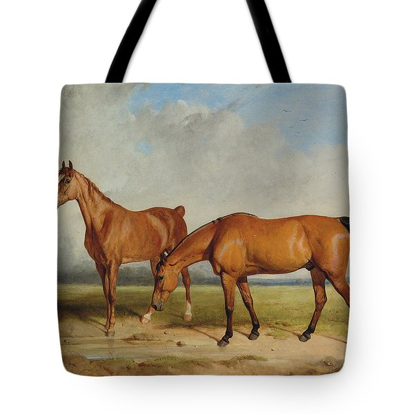 Bay Hunter And Chestnut Mare In A Field Tote Bag