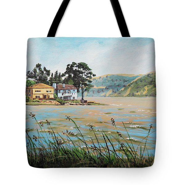 Bay Scenery With Houses Tote Bag