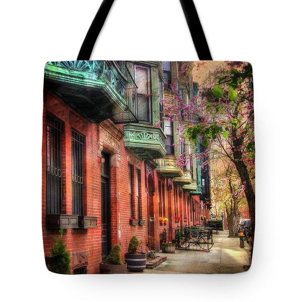 Bay Village Brownstones And Cherry Blossoms - Boston Tote Bag by Joann Vitali
