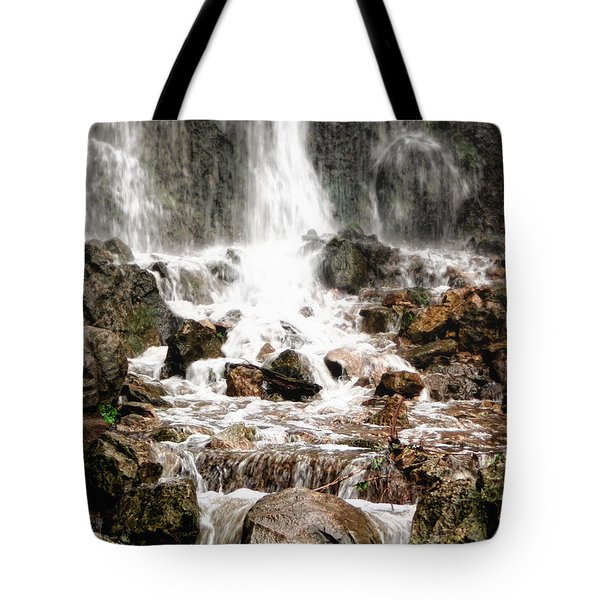 Tote Bag featuring the photograph Bayfront Park Waterfall by Lars Lentz