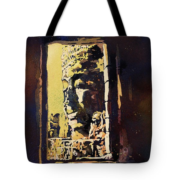 Tote Bag featuring the painting Bayon IIi- Cambodian Ruins, Angkor Wat by Ryan Fox