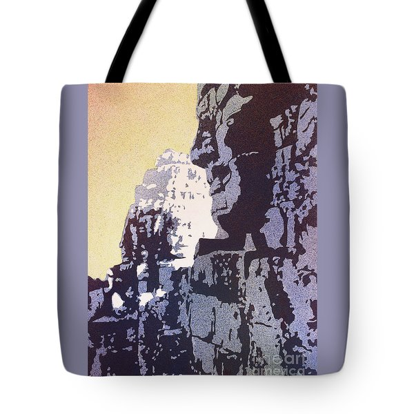 Tote Bag featuring the painting Bayon Temple- Angkor Wat, Cambodia by Ryan Fox