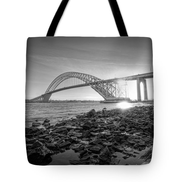 Bayonne Bridge Black And White Tote Bag by Michael Ver Sprill