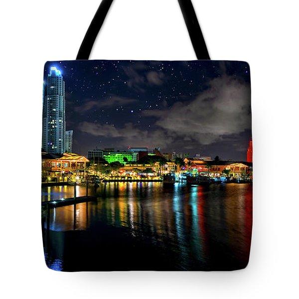 Bayside Miami Florida At Night Under The Stars Tote Bag