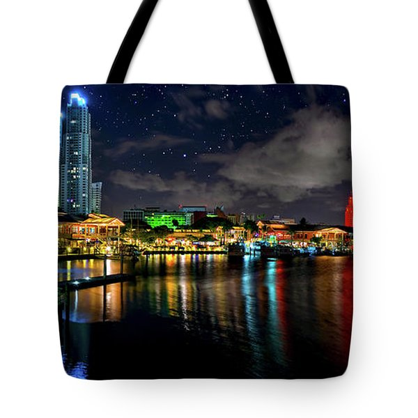 Tote Bag featuring the photograph Bayside Miami Florida At Night Under The Stars by Justin Kelefas