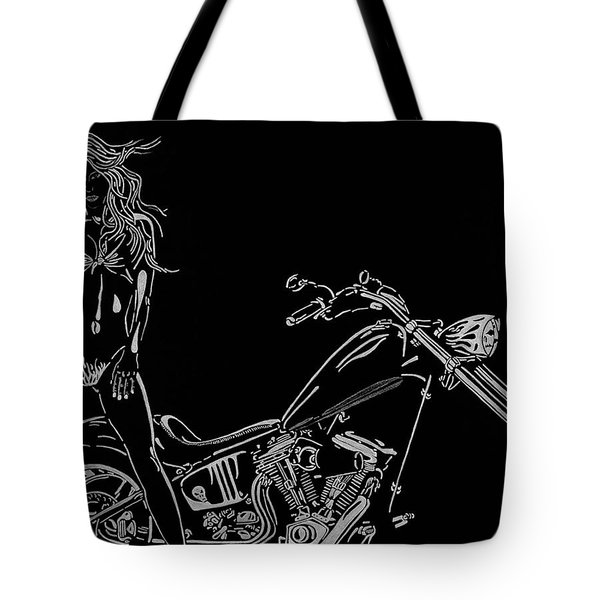 Tote Bag featuring the drawing Bb Four by Mayhem Mediums