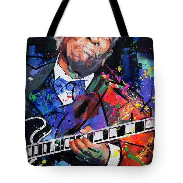 Tote Bag featuring the painting Bb King Portrait by Richard Day