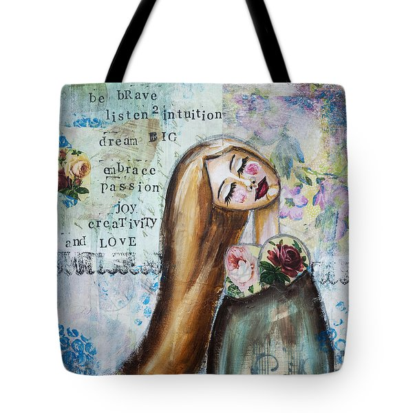 Be Brave Inspirational Mixed Media Folk Art Tote Bag by Stanka Vukelic