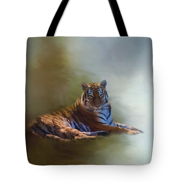 Be Calm In Your Heart - Tiger Art Tote Bag by Jordan Blackstone
