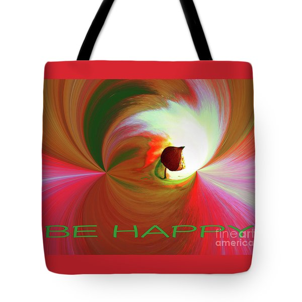 Be Happy, Red-rose With Physalis Tote Bag