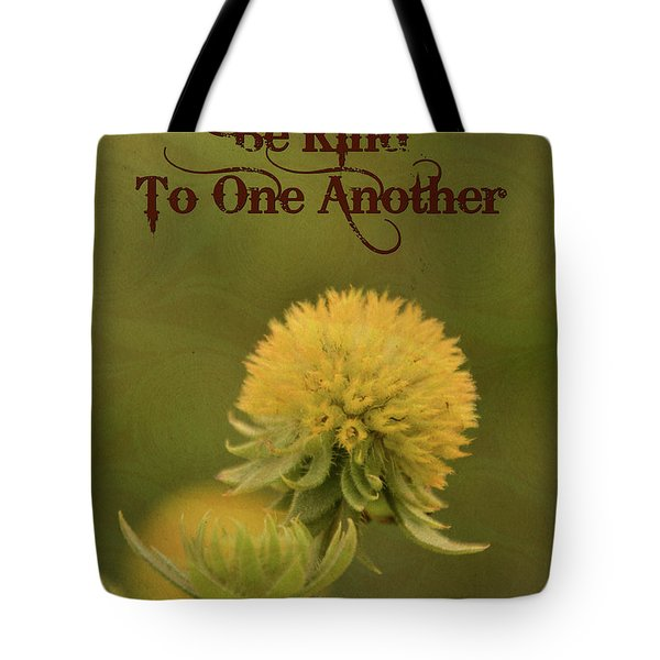 Tote Bag featuring the mixed media Be Kind To One Another by Trish Tritz