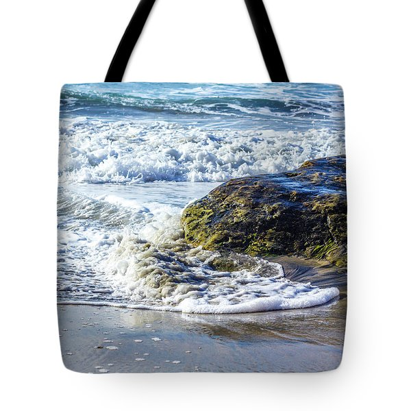 Wave Around A Rock Tote Bag