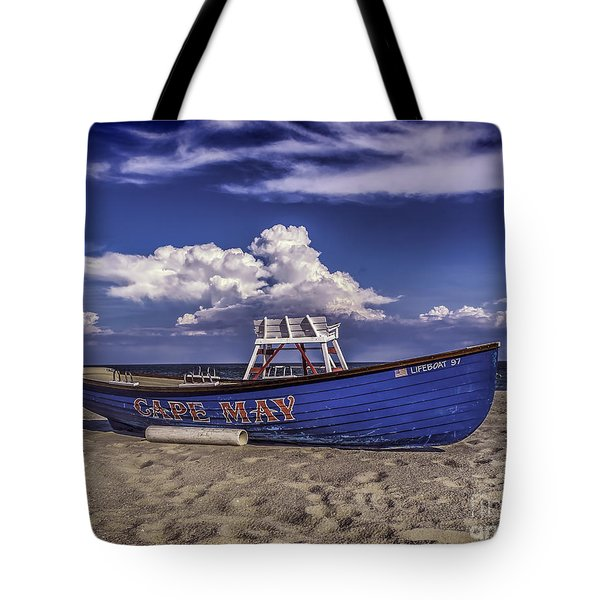 Beach And Lifeboat Tote Bag