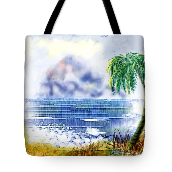 Beach And Palm Tree Of D.r.  Tote Bag