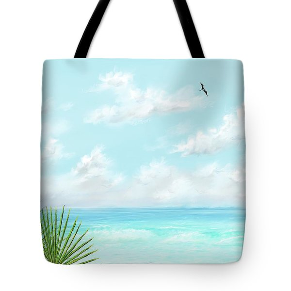 Tote Bag featuring the digital art Beach And Palms by Darren Cannell