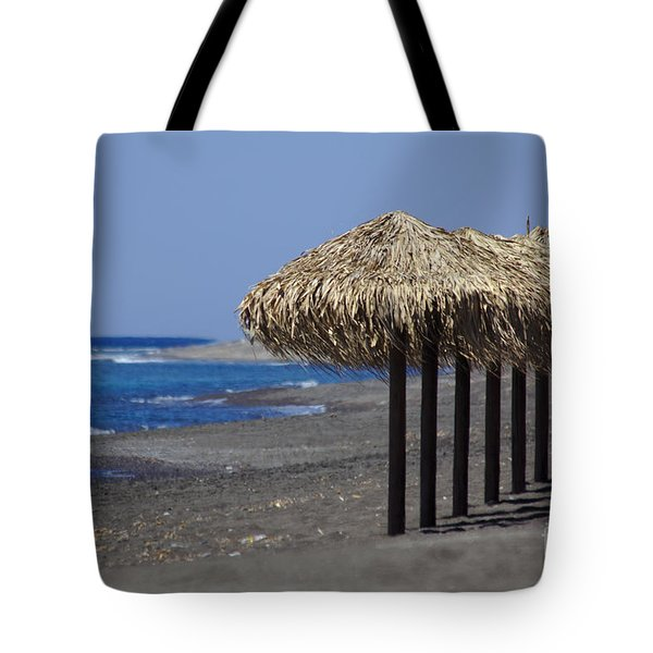 Tote Bag featuring the photograph Beach At Perivolos by Jeremy Hayden