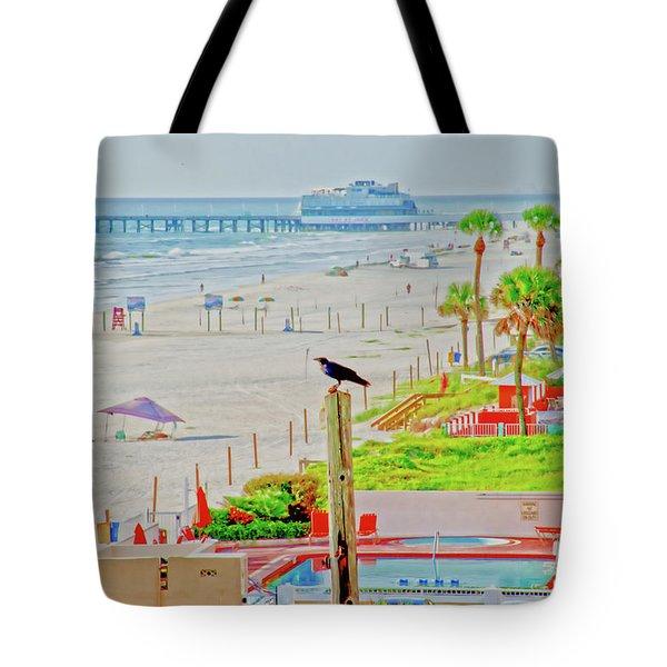 Beach Bird On A Pole Tote Bag