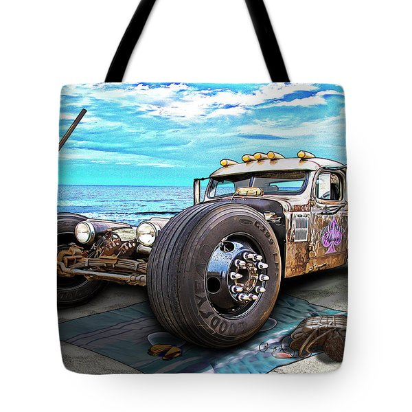 Beach Blanket Rat Rod Tote Bag