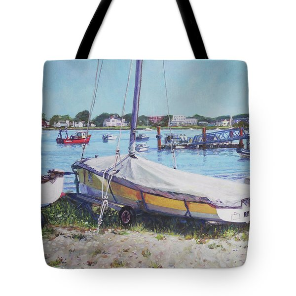 Tote Bag featuring the painting Beach Boat Under Cover by Martin Davey