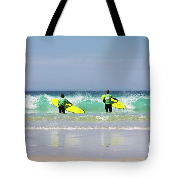 Tote Bag featuring the photograph Beach Boys Go Surfing by Terri Waters