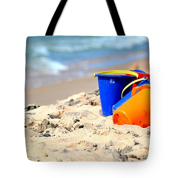 Tote Bag featuring the photograph Beach Buckets by SimplyCMB