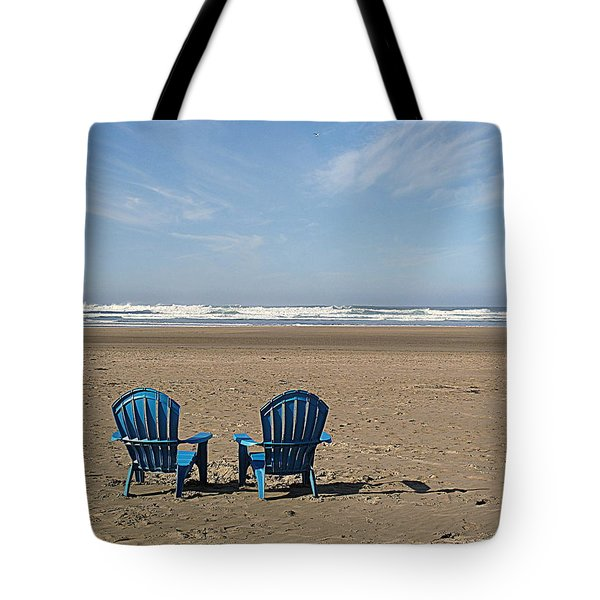 Tote Bag featuring the photograph Beach Chair Pair by Suzy Piatt