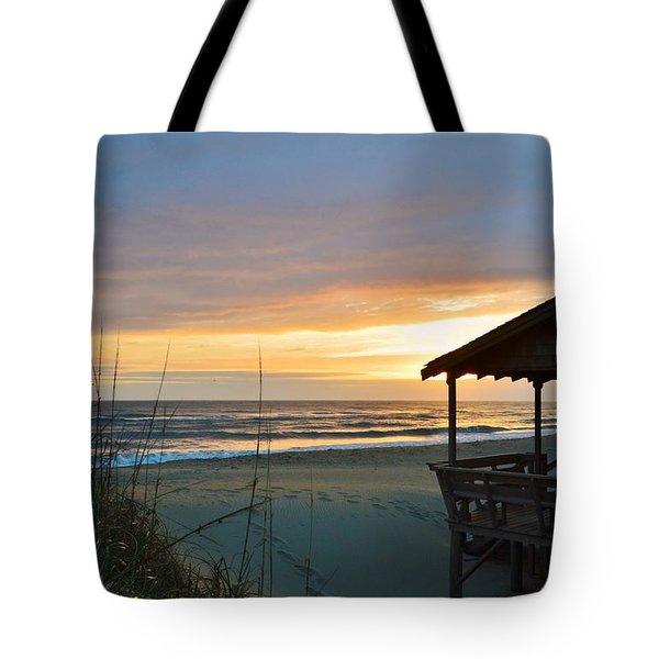 Beach Cottage Sunrise  Tote Bag