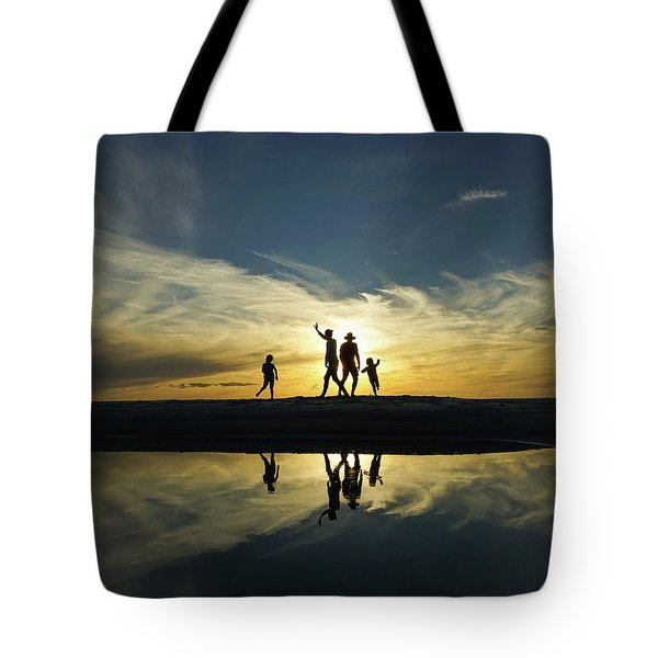 Beach Dancing At Sunset Tote Bag