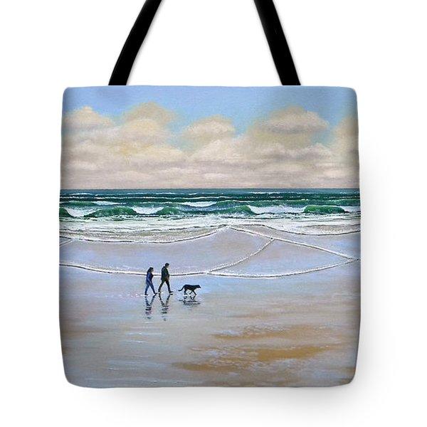 Beach Dog Walk Tote Bag