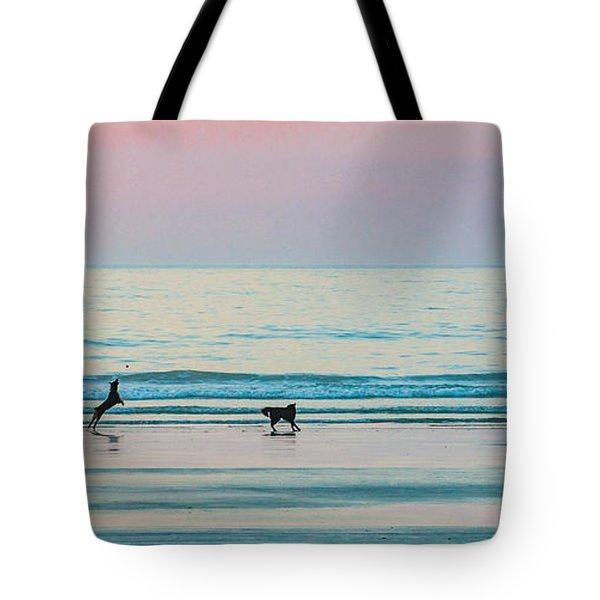 Beach Dogs Playing At Dawn Tote Bag