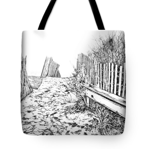 Tote Bag featuring the drawing Beach Entrance by Michele A Loftus
