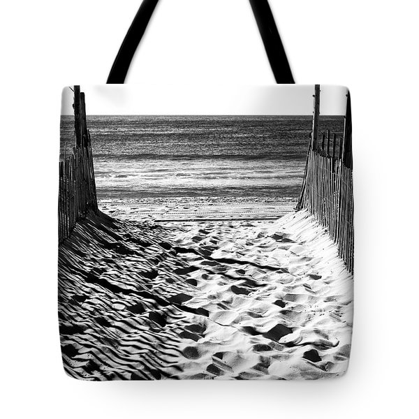Beach Entry Black And White Tote Bag