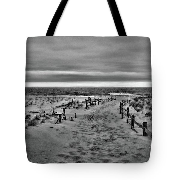 Beach Entry In Black And White Tote Bag by Paul Ward