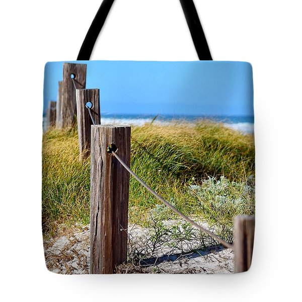 Beach Fence Tote Bag by Sandy Taylor