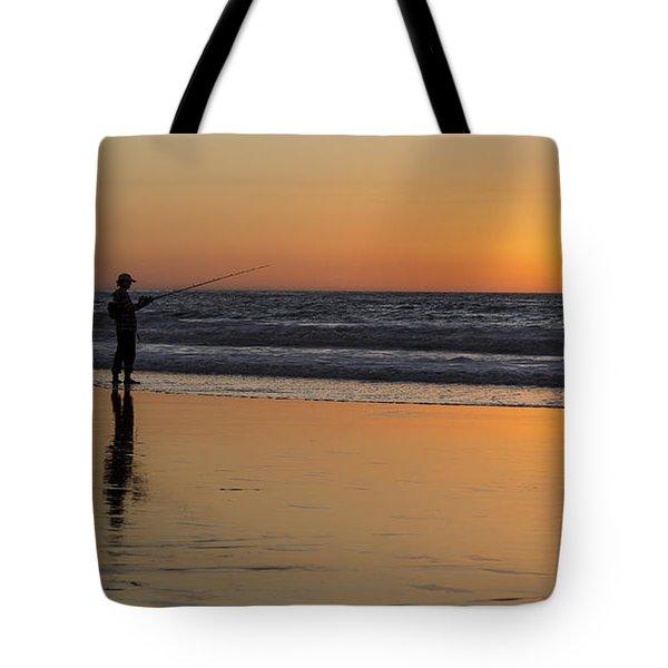 Beach Fishing At Sunset Tote Bag