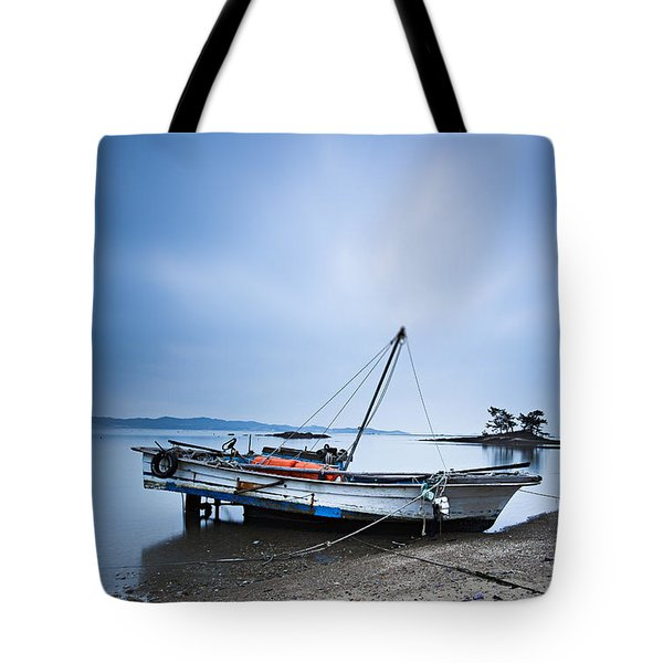 Beach Fishing Boat Tote Bag