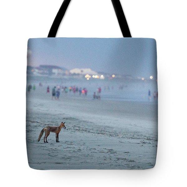 Beach Fox At Dusk Tote Bag