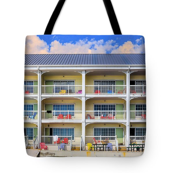Beach Front Hotel Tote Bag