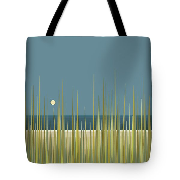 Tote Bag featuring the digital art Beach Grass And Blue Sky by Val Arie
