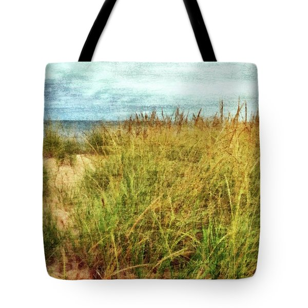 Tote Bag featuring the digital art Beach Grass Path - Painterly by Michelle Calkins