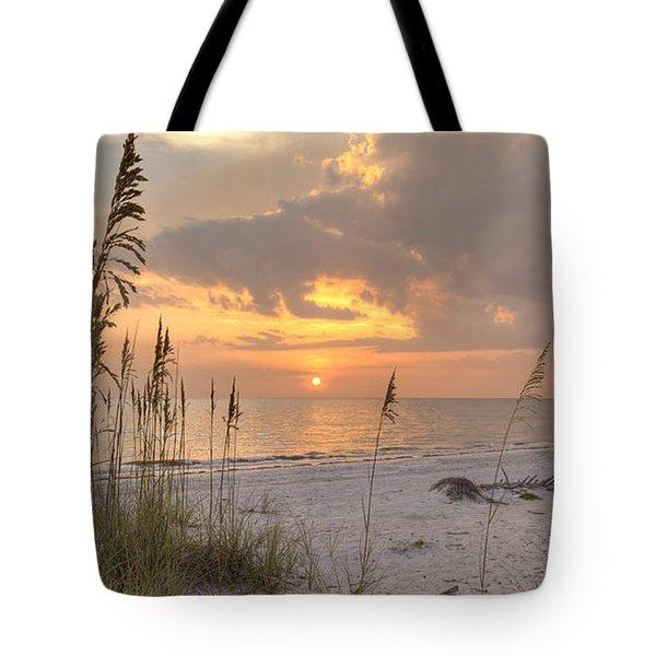 Beach Grass Sunset Tote Bag