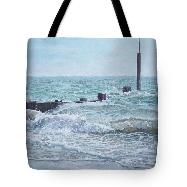 Tote Bag featuring the painting Beach Groin With Autumn Waves by Martin Davey