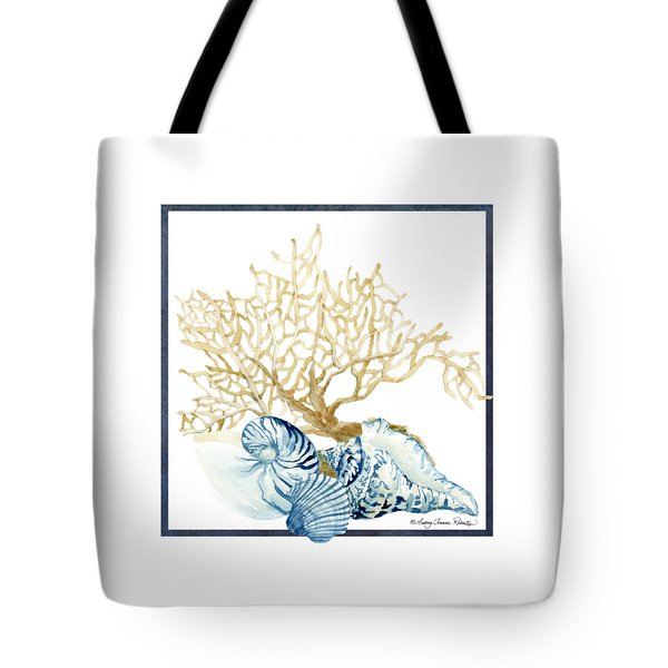 Beach House Nautilus Scallop N Conch With Tan Fan Coral Tote Bag