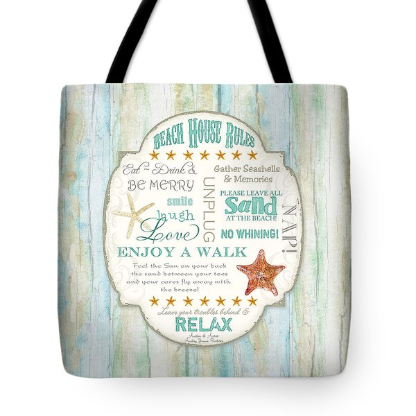 Beach House Rules - Refreshing Shore Typography Tote Bag