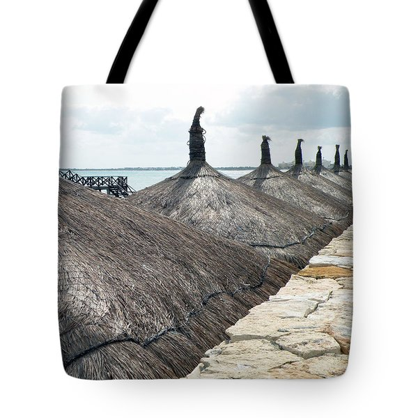Beach Huts At The Grand Mayan Tote Bag by Dianne Levy