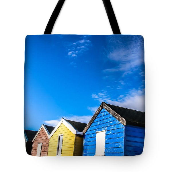 Beach Huts In The Sunlight Tote Bag by David Warrington