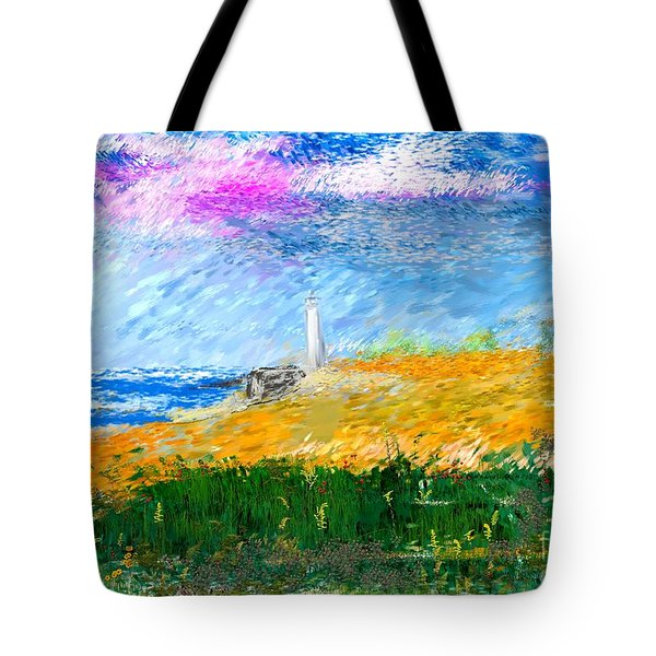 Beach Lighthouse Tote Bag by David Lane