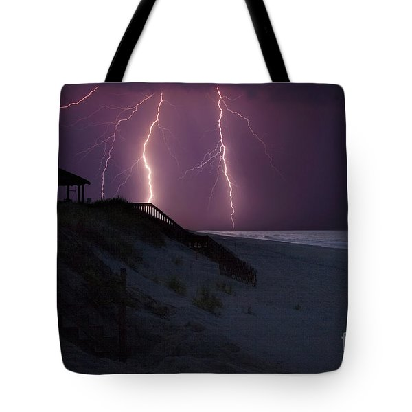 Beach Lighting Storm Tote Bag by Randy Steele