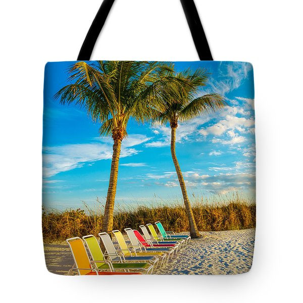 Beach Lounges Under Palms Tote Bag